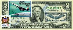$2 DOLLARS 1976 STAMP CANCEL CLASSIC AMERICAN AIRCRAFT LUCKY MONEY VALUE $125