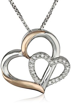 """XPY Sterling Silver and 14k Rose Gold Diamond Double-Heart Pendant Necklace, 18"""" (0.09 cttw, I-J color, I2-I3 clarity)"""