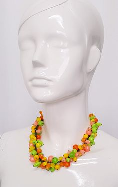 Vintage 50's FRUIT SALAD LUCITE Moon-Glow & Solid Pastel Brights Cluster Beaded Necklace Crochet Necklace, Beaded Necklace, Necklaces, Plastic Jewellery, Watermelon And Lemon, Color Depth, Cluster Necklace, Diamond Shapes, Fruit Salad