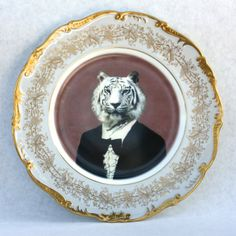 "Altered Antique Plate - ""Gold Tiger"" from Devall Design & Home for $100 on Square Market"