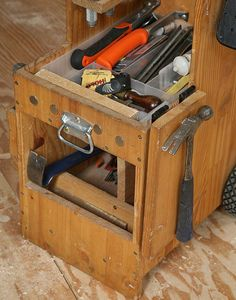 Multiple use tool box. need a drop down lock like plinth to stabalise when a step? Used Tool Boxes, Tool Box On Wheels, Wood Tool Box, Wooden Tool Boxes, Wood Tools, Diy Tools, Carpentry Tools, Woodworking Projects, Wood Projects