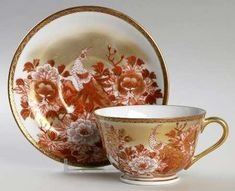 Kutani Red Peacock and Peonies Footed Cup & Saucer Set