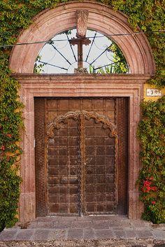 lovely wood door in old colonial mansion - San Miguel de Allende, Mexico