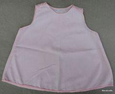 #Baby Toddler Shift Slip #Dress Frock #Pink Cotton 15 mo 1960s Bear Reborn Doll