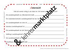Österreich - Lesetext, Lückentext und Zuordnungsübung – Unterrichtsmaterial im Fach Sachunterricht Klagenfurt, Innsbruck, Words, Shot Film, Linz, Horse