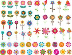*** Digital Product *** --- Personal and Small Commercial Use --- Set of 57 flower ClipArt. Art Floral, Floral Drawing, Motif Floral, Mexican Flowers, Download Digital, Clip Art, Hand Drawn Flowers, Illustration, Flower Clipart