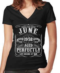 e8af2f4e Funny June 1958 60th Birthday Party Apparel Women's Fitted V-Neck T-Shirt  Mother