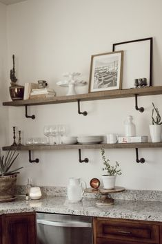 Arlyn's Tips: How to style kitchen shelves - Arlyn LeBaron Faux Plants, Upper Cabinets, Better Together, Kitchen Shelves, Kitchen Styling, Open Shelving, Own Home, Slate, Floating Shelves