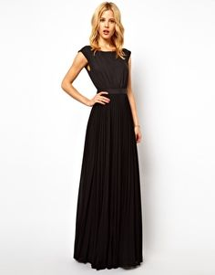 Asos  Mango Maxi Dress With Pleat Skirt And Open Back
