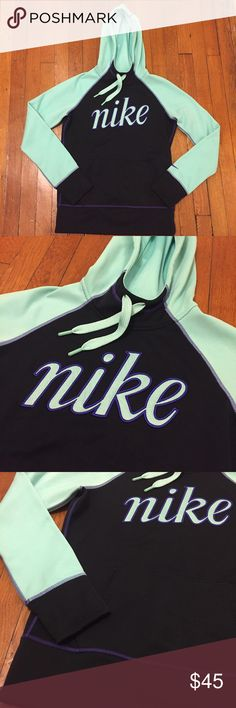 Nike hoodie Therma-fit Nike hoodie for women. Size small. Mint, purple, and black colors. This is an amazing hoodie!! Super warm! Has a fitted look and the colors are beautiful and the material is incredible! Perfect to wear for lounging, running errands, to the gym, jogging in the winter weather, or out and about. I only wore it 1-2 times. In excellent condition. I never wore it to exercise in. Just for a couple hours in class. Nike Tops Sweatshirts & Hoodies