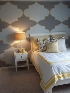 Gray and Yellow Teen/Tween Room - Design Dazzle - Macy loves it! Here's hoping I can figure out the stencil
