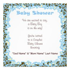 Baby Shower Ideas For Boys | custom baby boy baby shower invitations couple s shower cards blue ...