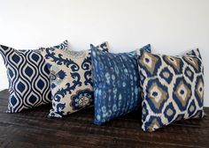Throw pillow covers 18 x 18 Set Of Four blue by ThePillowPeople