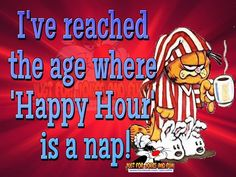 I've reached the age where 'Happy Hour' is a nap! Garfield Quotes, Garfield And Odie, Garfield Cartoon, Happy Hour Funny, Sarcastic Quotes, Funny Quotes, Nap Quotes, Garfield Pictures, Funny Pictures