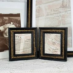 Tiny Hinged Double Photo Frame in Black & Gold by mackenzieframes, $34.00-would be nice to have for our picture by the bed