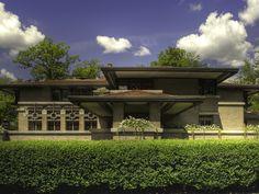 Frank Lloyd Wright Prairie Style House http://meyermayhouse.steelcase.com/media/gallery/7/house_wallpaper_1600x1200.jpg
