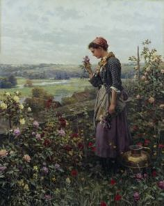 Maiden Picking Flowers, Daniel Ridgway Knight, circa 1890, oil on canvas, 32 3/4 in. x 26 in. Currier Museum of Art.