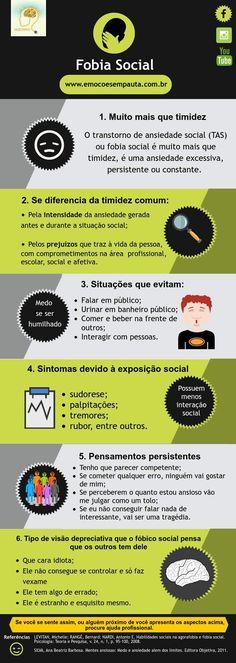 Fobia Social  www.emocoesempauta.com.br  Curta nossa página no facebook  Emoções em Pauta #FobiaSocial #Infográfico #Psicologia