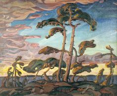 Pines, Georgian Bay by Arthur Lismer, Canadian, Group of Seven painter. Arthur Lismer taught art to my father in college. Group Of Seven Artists, Group Of Seven Paintings, Canadian Painters, Canadian Artists, Canadian Things, Landscape Art, Landscape Paintings, Acrylic Paintings, Ontario