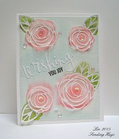 supplies: white cardstock, watercolor paper, DieNamics Scribble Roses Overlay dies, Simon's Wishing die and Sending & Wishing stamp set and stitched rectangle die, Spectrum Aqua  and Zig watercolor markers and tumbled glass distress ink, water brush, moonshine sequins