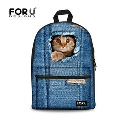 60.53$  Watch now - http://vituz.justgood.pw/vig/item.php?t=wpv3oap48381 - Girls Backpacks Casual Child Back Pack Women Canvas Backpack 3D Cat Cowboy Jean 60.53$