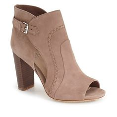 "Vince Camuto 'Conley Buckle' Open Toe Bootie , 3 3/4"" heel ($149) ❤ liked on Polyvore featuring shoes, boots, ankle booties, smoke cloud, suede open toe booties, vince camuto booties, open toe bootie, suede bootie and short suede boots"