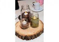 coffee beans, split peas, cork in mason jars with votive on wood round