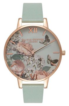 See the Women's Olivia Burton Signature Florals Leather Strap Watch, Browse women's Dusty Pink Watches. Trendy Watches, Cute Watches, Ladies Watches, Women's Watches, Wrist Watches, Butterfly Jewelry, Rose Gold Jewelry, Gold Jewellery, Jewlery