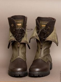 Купить Ботинки ручной работы УНИсекс милитари - хаки, оливковый, ботинки мужские, ботинки женские