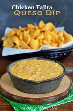 Chicken Fajita Queso Dip - Velveeta cheese and Rotel tomatoes get a fun chicken fajita twist in this queso