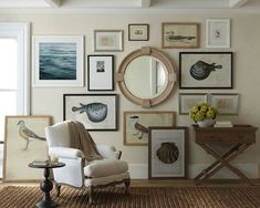 Coastal art gallery wall 10 Ways to add a coastal casual feel to your home. http://bit.ly/1oZHw01