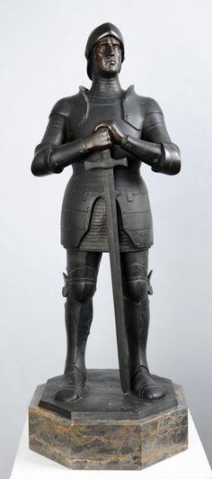 """Seifert, Victor Heinrich(1870 Döbling - 1953 Berlin) Bronze, dunkel patiniert. """"Teutonischer Ritter"""" Königsberg Pr. 75 cm."""