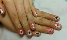 Painting the roses red! CND Shellac Rockstars Cream Puff with Sizzling Sand glitter, stamping and hand painting
