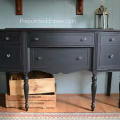 Midnight Sideboard in General Finishes Lamp Black by www.thepainteddrawer.com
