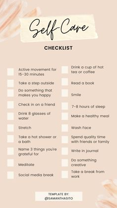 Self Care Checklist - Self-care isn't selfish! Make sure you take care of yourself even if you'll be home most of the - Self Care Bullet Journal, Vie Motivation, Positive Self Affirmations, Self Care Activities, Self Improvement Tips, Self Care Routine, Best Self, Self Development, Take Care Of Yourself