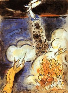 Marc Chagall Moses calls the waters down upon the Egyptian army, 1966 Marc Chagall, Artist Chagall, Chagall Paintings, Jewish Art, Wolf, Naive Art, French Artists, Painting & Drawing, Painting Lessons