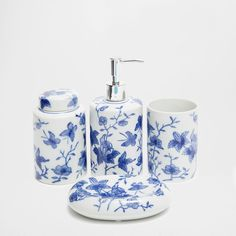 BLUE FLOWERS BATHROOM SET: for kitchen and gf powder room guest bathroom
