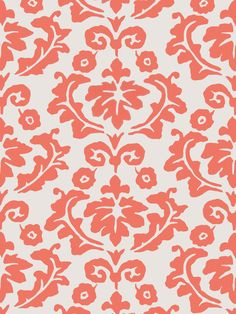 Nouveau Palazzo wallcovering in color Persimmon from the Dana Gibson collection for Stroheim. #danagibson #wallpaper #coral #colortrend
