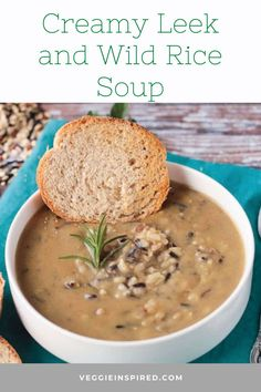 Creamy Leek and Wild Rice Soup – thick and creamy, yet delicate in flavor is perfect for a rainy Spring or chilly Autumn day.  #glutenfree #dairyfree #vegan #plantbased #meatlessmondays Bowl Of Soup, Soup And Salad, Vegan Split Pea Soup, Wild Rice Soup, Base Foods, Healthy Soup, Dairy Free Recipes, Plant Based Recipes, Original Recipe
