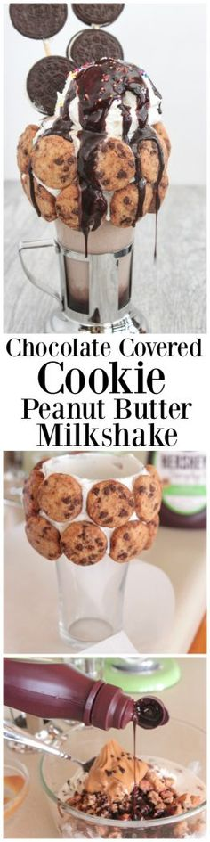 Chocolate Covered Cookie Peanut Butter Milkshake - #Simply5 #spon