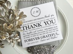 Wedding thank you for reception.  #thankyoucard #weddingreception #weddingdetails  https://www.etsy.com/listing/514335493/wedding-reception-thank-you-card-style