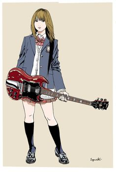 Kai Fine Art is an art website, shows painting and illustration works all over the world. Manga Anime, Anime Art, Character Illustration, Illustration Art, Character Art, Character Design, Guitar Drawing, Graffiti, Guitar Girl