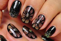 Nail Art Designs Gallery Best Of Nail Art Black Nail Design Black Flowers Nail Art Designs Cute Nail Art, Nail Art Diy, Easy Nail Art, Diy Nails, Cute Nails, Nail Art Design Gallery, New Nail Art Design, Nails Design, Nagellack Design