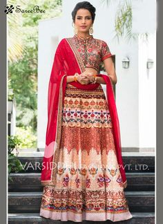 Sensible Art Silk Print Work Lehenga Choli  Be an angel and create and establish a smashing impression on everybody by wearing this multi colour art silk lehenga choli. The ethnic lace and print work within the dress adds a sign of beauty statement for the look. Comes with matching choli and dupatta
