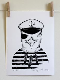 CAPTAIN SEAGULL, limited edition of 20 silkscreen prints on 180grs Canson paper (240x320mm)  copyright© 2012 daniela garreton