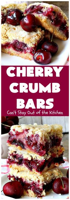 Cherry Crumb Bars & Can& Stay Out of the Kitchen & These mouthwatering bar-type are so spectacular. I guarantee you& be drooling after the first bite! Terrific for summer& & ] The post Cherry Crumb Bars appeared first on Appetizer Recipes. Cherry Desserts, Köstliche Desserts, Delicious Desserts, Dessert Recipes, Yummy Food, Bar Recipes, Desserts With Cherries, Shrimp Recipes, Recipes With Fresh Cherries