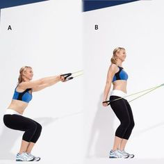 pulldown  WORKS: LEGS, BUTT, AND BACK    Anchor the center of a resistance tube around a high, sturdy object (or in the top of a doorjamb with the door closed) and stand facing it. Hold a handle in each hand with arms extended in front of you and palms facing the ground, and squat [a].    Rise halfway up as you pull the handles down to your sides [b]. Return to starting position and repeat.