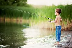 gone fishing.. Such a cute little boy picture - need to get one like this but in overalls