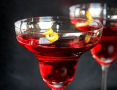 "I made this ""diet"" cosmo for my husband's birthday, and it was an absolute success!  Hibiscus deliciousness!"