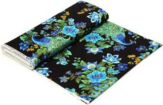Timeless Treasures fabric with blue-green peacock, flowers & gold embellishments